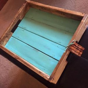 wooden tray with bottom painted sky blue